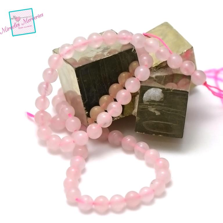 fil de 39 cm 63 perles de quartz rose ronde 6 mm,pierre naturelle