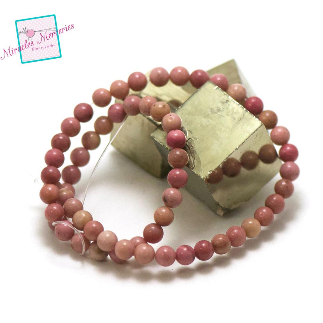 fil de 39 cm 63 perles de rhodonite ronde 6 mm, pierre naturelle