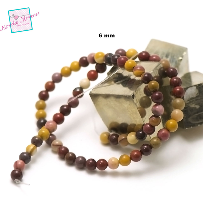 fil de 39 cm 63 perles de jaspe mokaïte ronde 6 mm,pierre naturelle