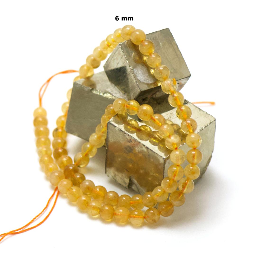 fil de 39 cm 63 perles de citrine ronde 6 mm,pierre naturelle