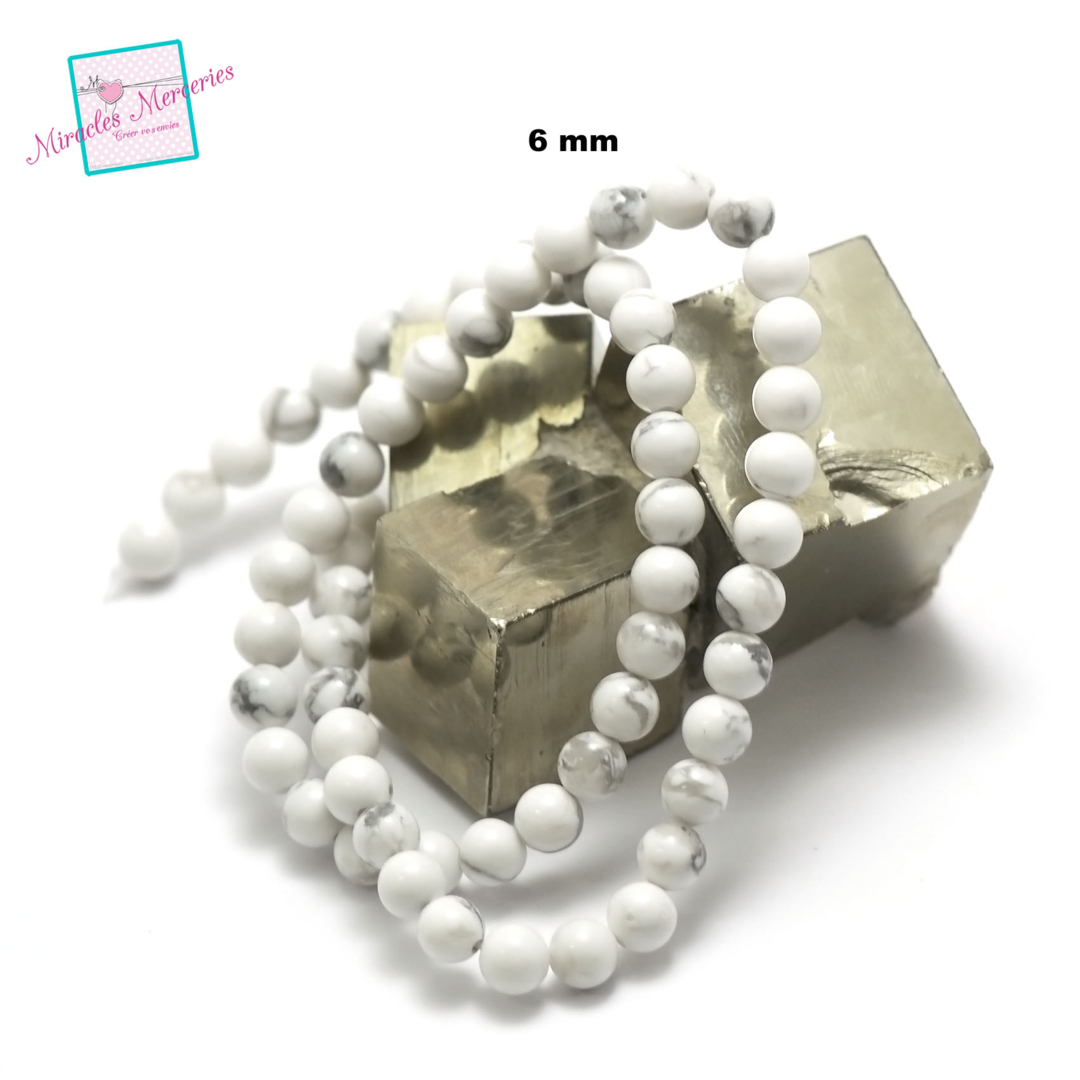 fil 39cm 63 perles de howlite ronde 6 mm
