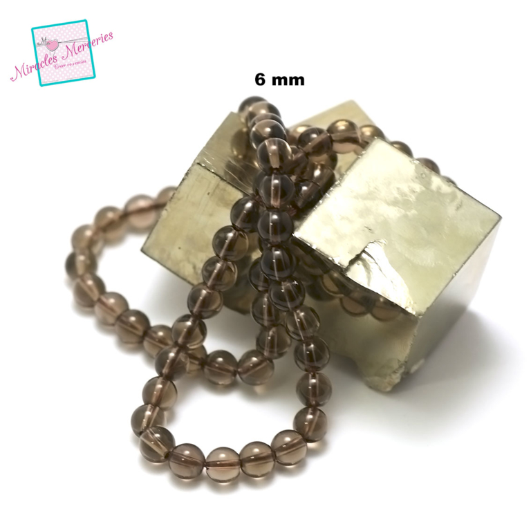 fil de 39 cm 63 perles de quartz fumé ronde 6 mm,pierre naturelle