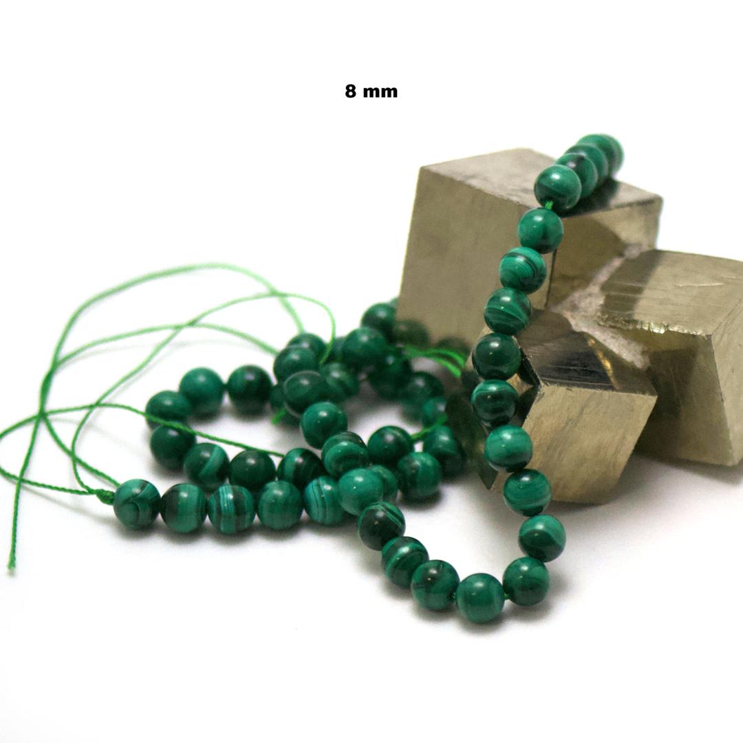 fil de 39 cm 49 perles de malachite ronde 8 mm