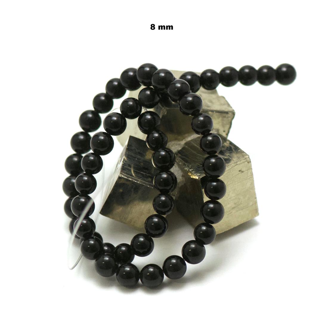 fil de 39 cm 49 perles d\'obsidienne noir ronde 8 mm