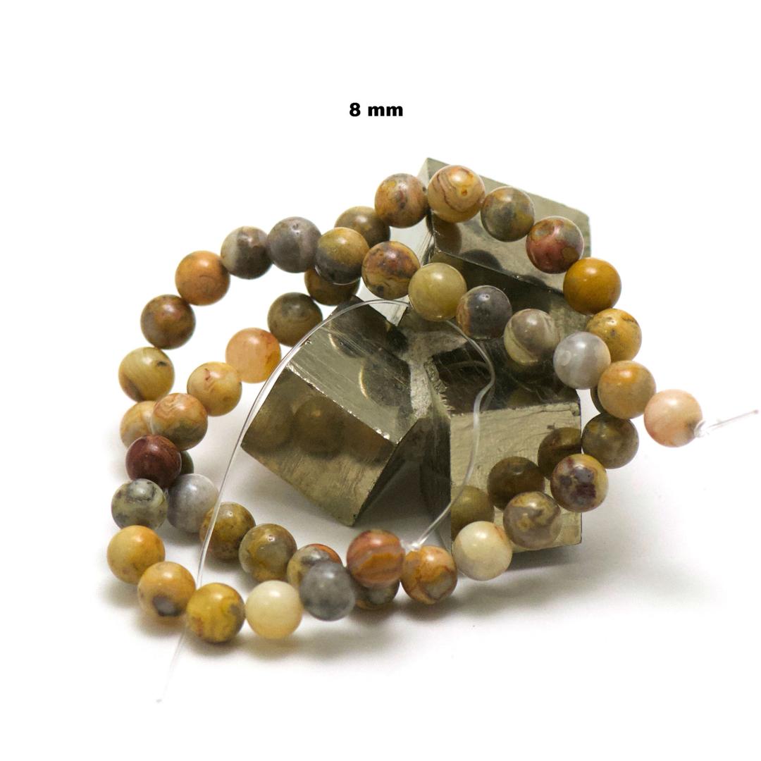 fil de 39 cm 49 perles d\'agate crazy lace ronde 8 mm