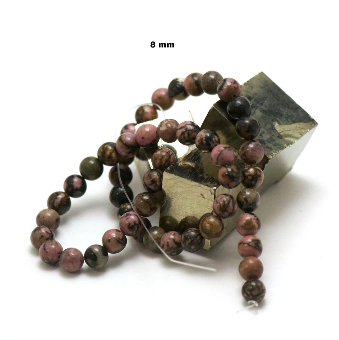 fil de 39 cm 49 perles de rhodonite de Madagascar ronde 8 mm