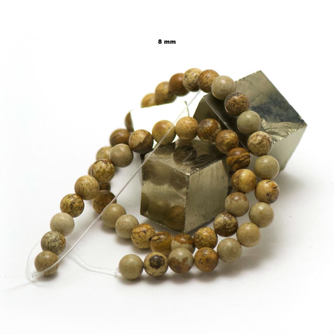 fil de 39 cm 49 perles de jaspe paysage ronde 8 mm