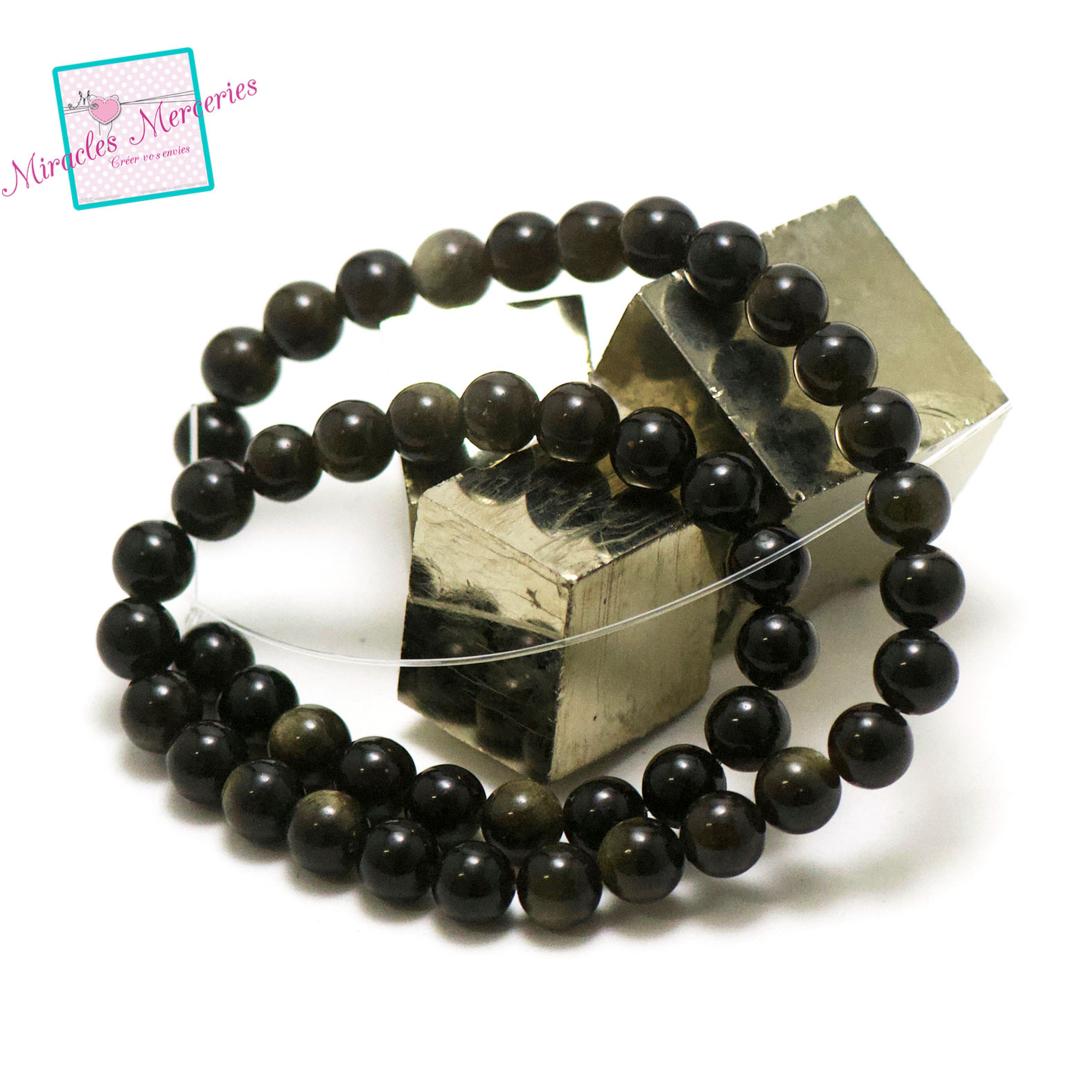 fil 39cm 47 perles d\'obsidienne doré ronde 8 mm, pierre naturelle