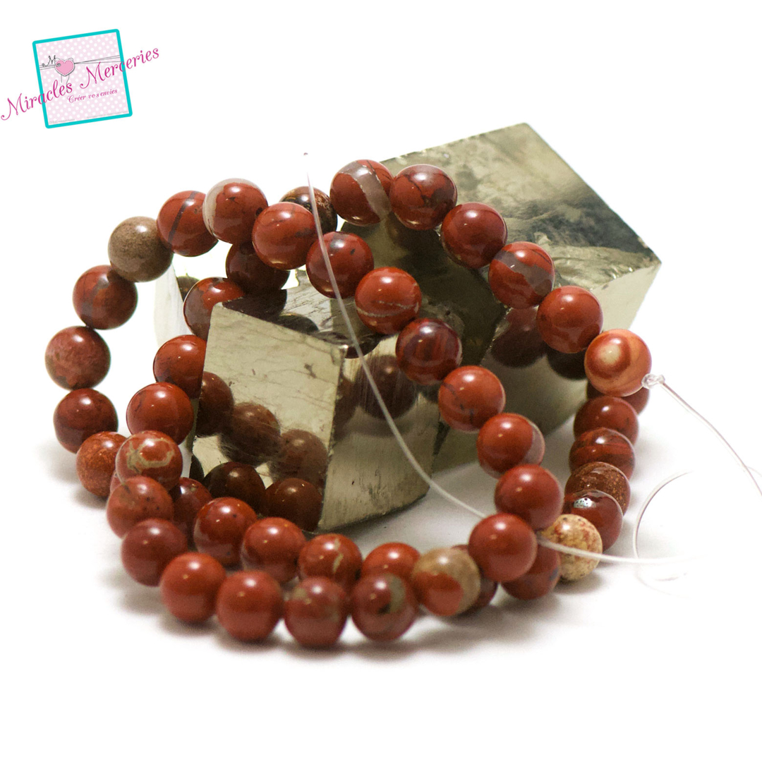 fil 39cm 47 perles de jaspe rouge ronde 8 mm, pierre naturelle