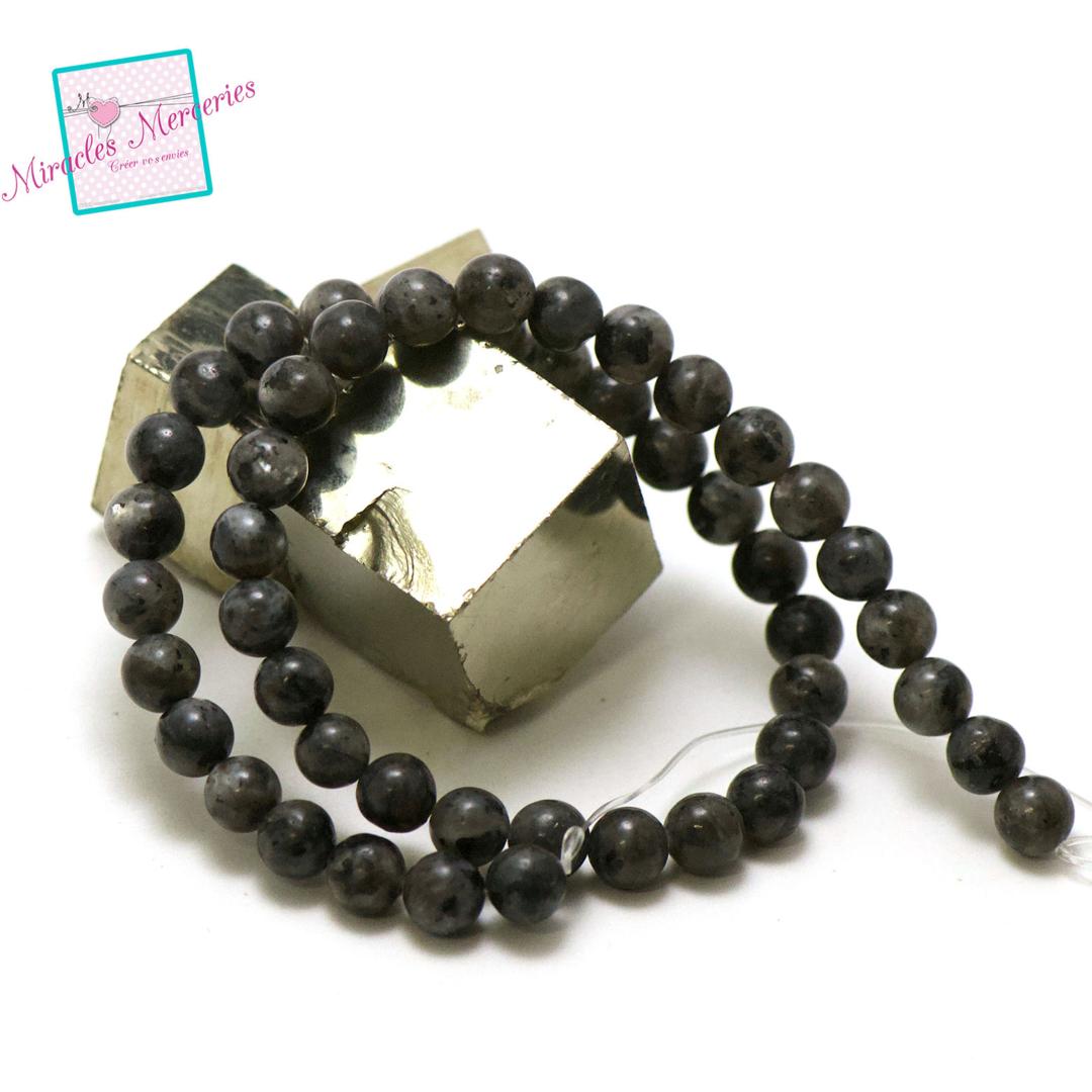 fil 39cm 47 perles de larvikite ronde 8 mm, pierre naturelle