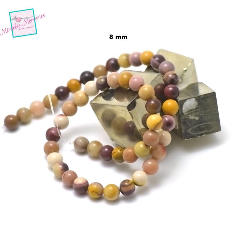 fil 39cm 49 perles de jaspe mokaïte ronde 8 mm,pierre naturelle