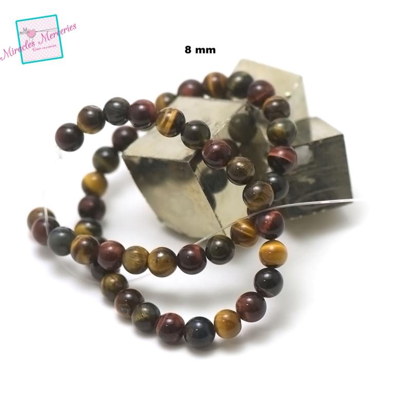fil 39cm 49 perles de trois oeil mélangés ronde 8 mm,pierre naturelle