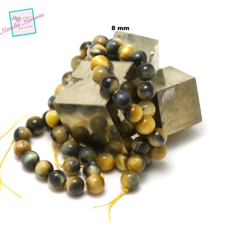 fil 39cm 49 perles de oeil de tigre doré ronde 8 mm,pierre naturelle