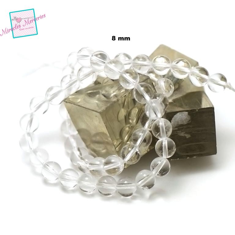 fil 39cm 49 perles de cristal de roche ronde 8 mm,pierre naturelle