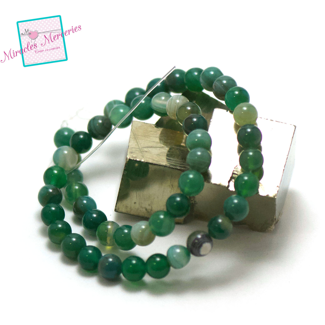 fil 39 cm 49 perles d\'agate vert ronde 8 mm