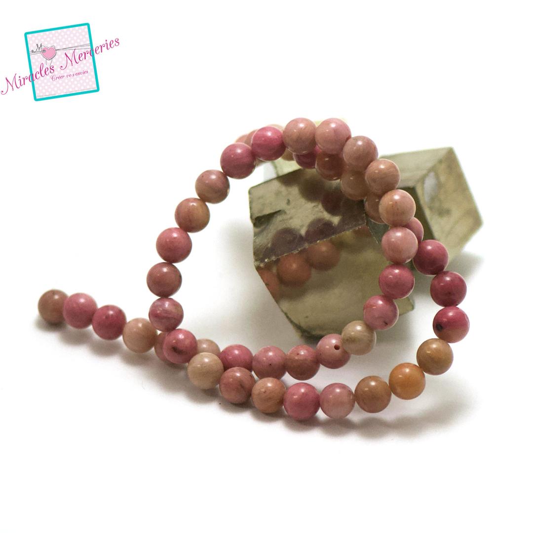 fil 39cm 49 perles de rhodonite ronde 8 mm