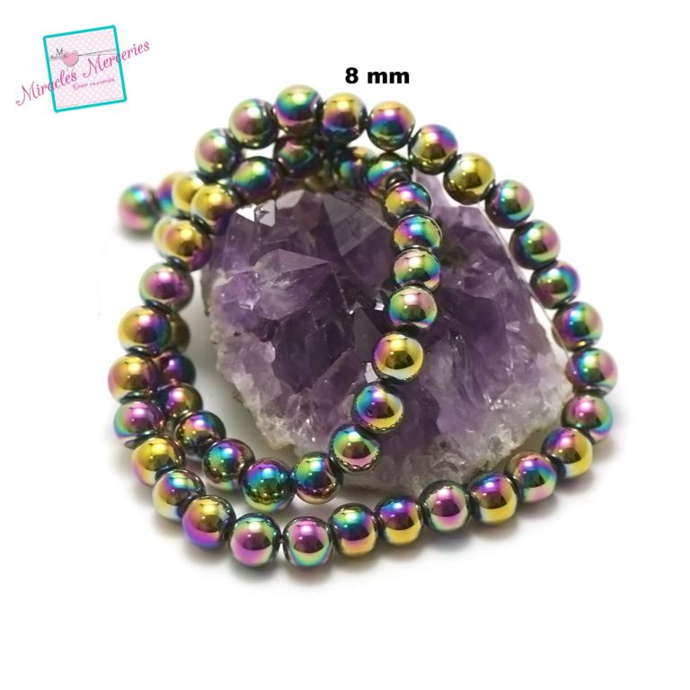 fil 39cm 49 perles d\'hématite multicolore ronde 8 mm