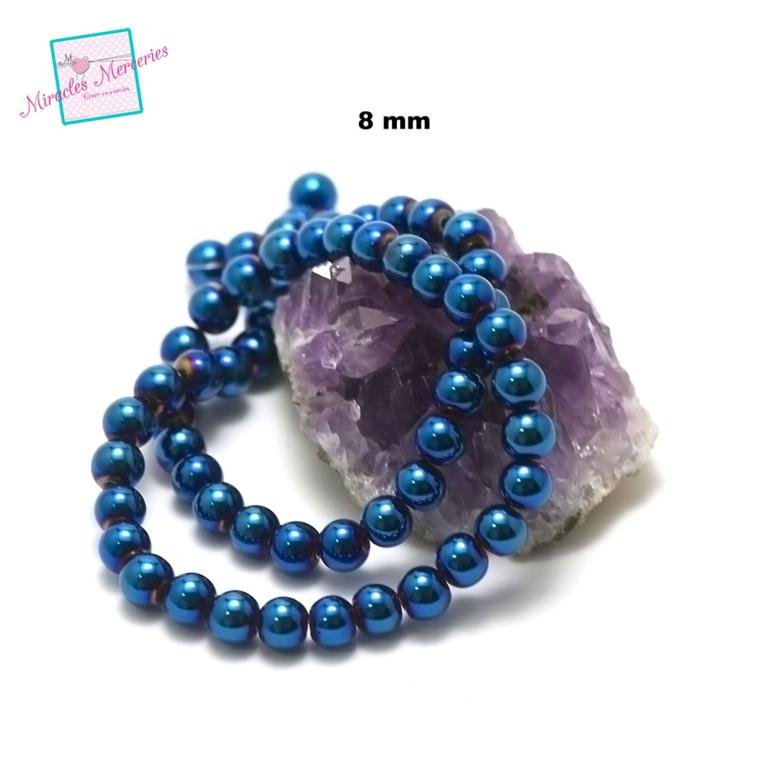 fil 39cm 49 perles d\'hématite bleu ronde 8 mm