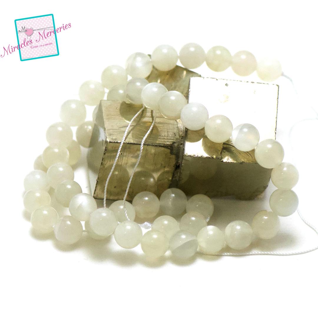 fil 39cm 47 perles de pierre de lune ronde 9 mm,pierre naturelle