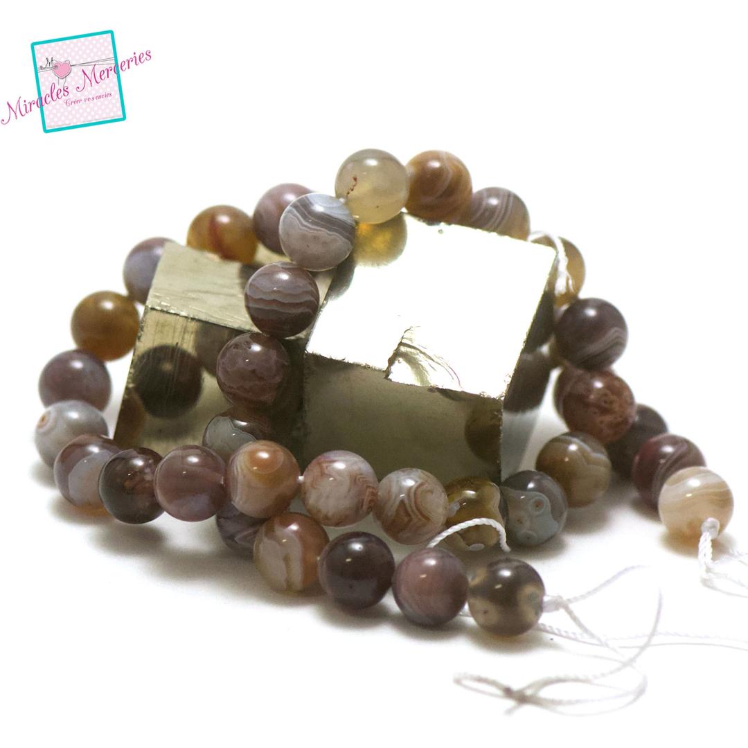 fil de 39 cm env 39 perles d\'agate de botswana ronde 10 mm, pierre naturelle