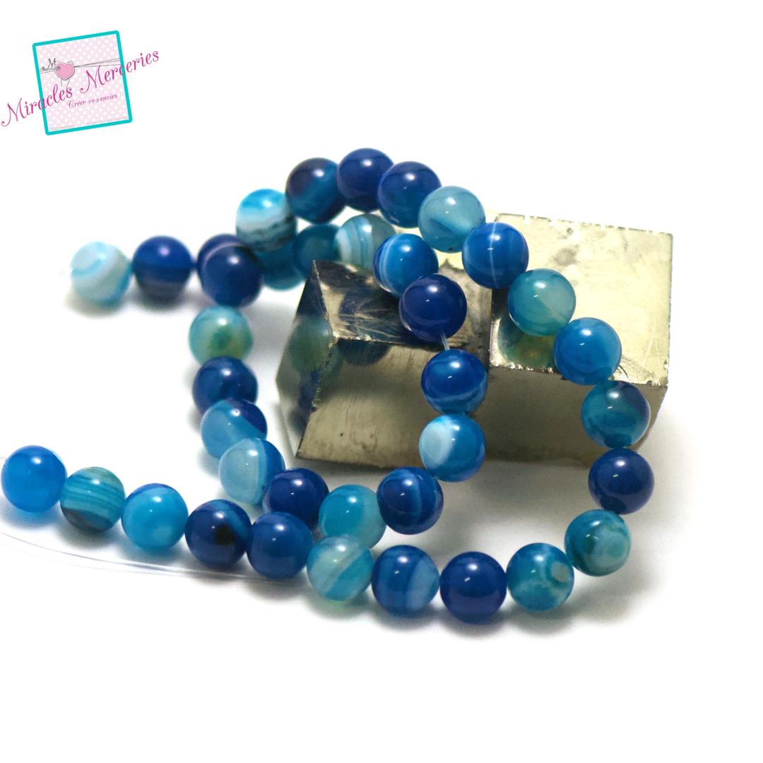 fil de 39 cm env 39 perles d\'agate bleu ronde 10 mm, pierre naturelle