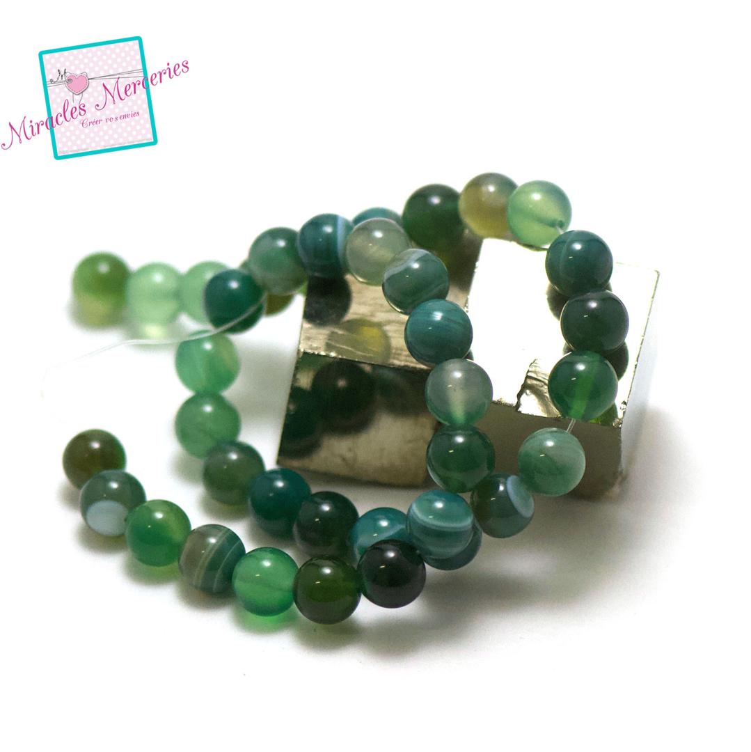 fil de 39 cm env 39 perles d\'agate vert ronde 10 mm, pierre naturelle