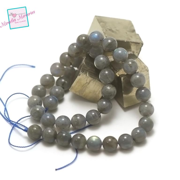 fil de 39 cm 39 perles de labradorite ronde 10 mm, pierre naturelle