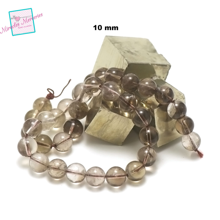 fil de 39 cm 39 perles de quartz fumé ronde 10 mm, pierre naturelle
