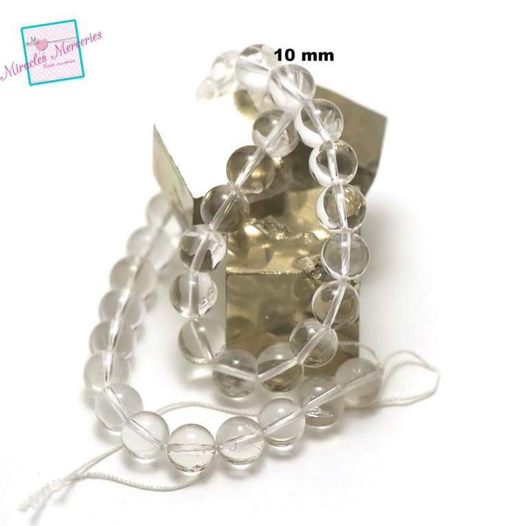 fil de 39 cm 39 perles de cristal de roche ronde 10 mm,pierre naturelle