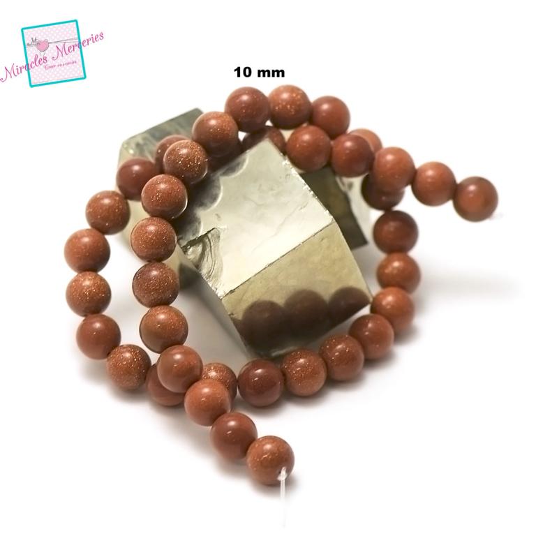 fil de 39 cm 39 perles de goldstone/pierre de soleil ronde 10 mm