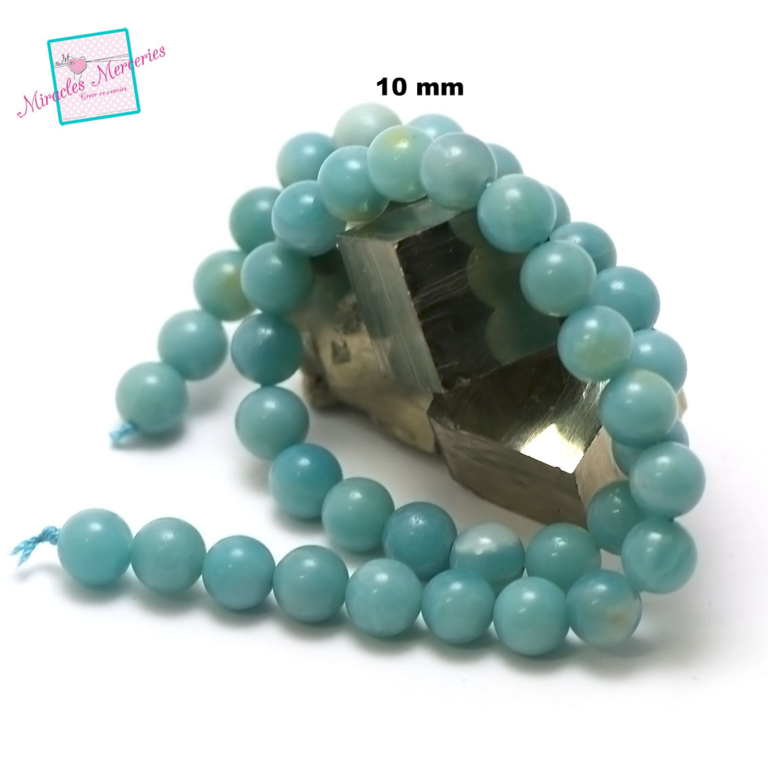 fil de 39 cm env 39 perles d\'amazonite ronde 10 mm, pierre naturelle