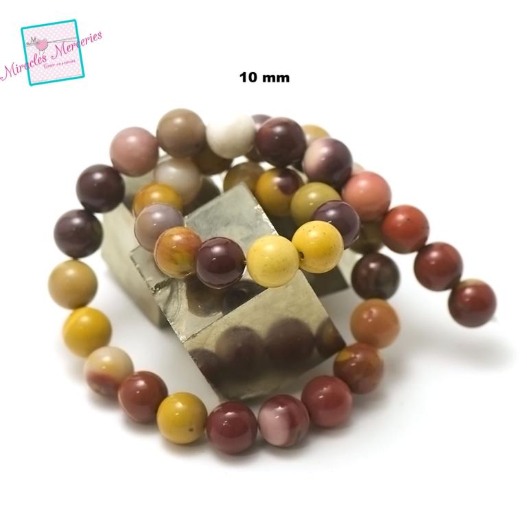 fil de 39 cm 39 perles de jaspe mokaïte ronde 10 mm,pierre naturelle