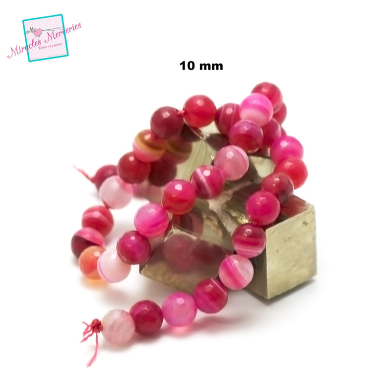 fil de 39 cm env 39 perles d\'agate ronde facettée 10 mm, pierre naturelle
