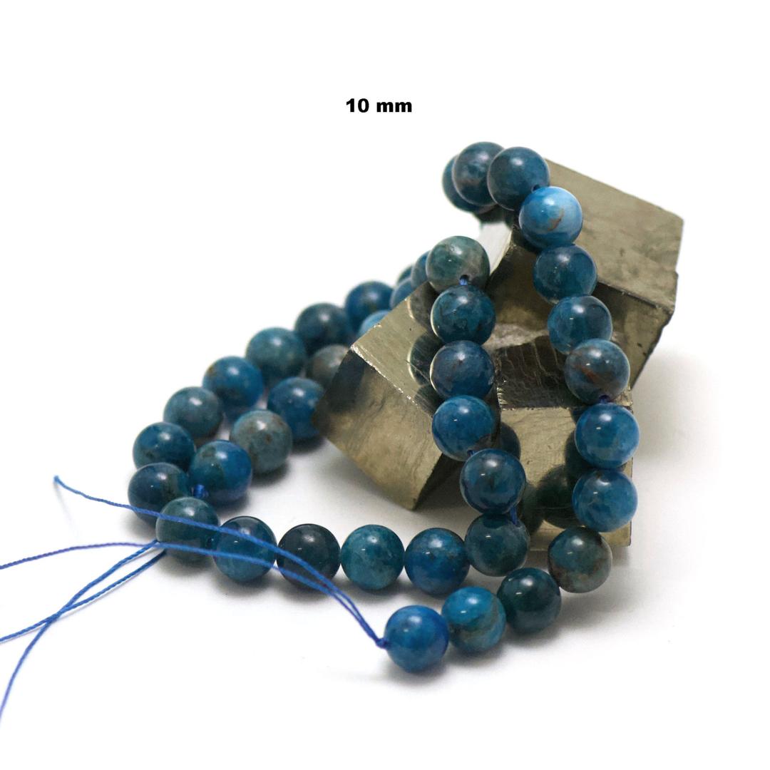 fil de 39 cm 39 perles d\'Apatite ronde 10 mm