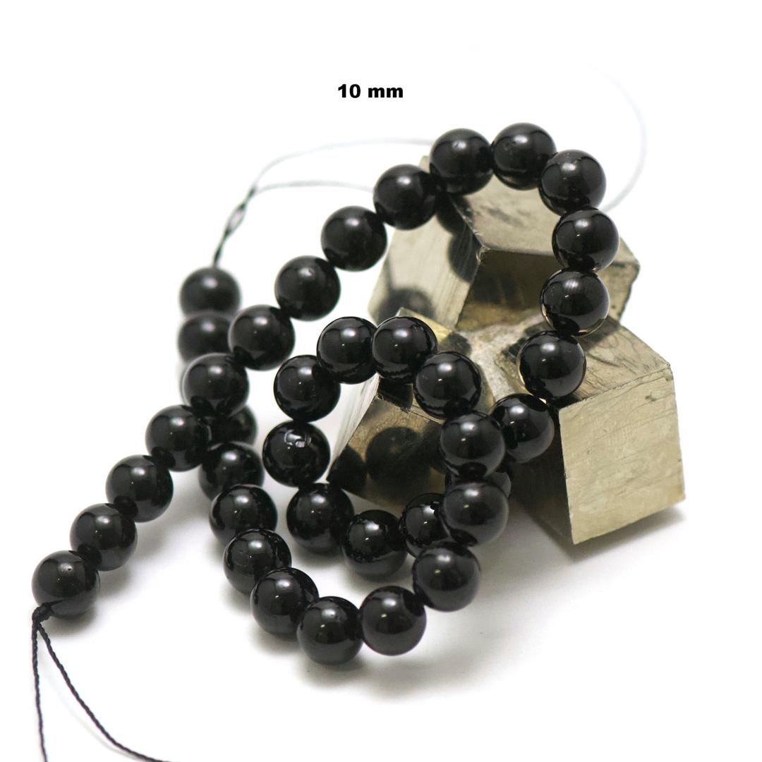 fil de 39 cm 39 perles de tourmaline noir ronde 10 mm