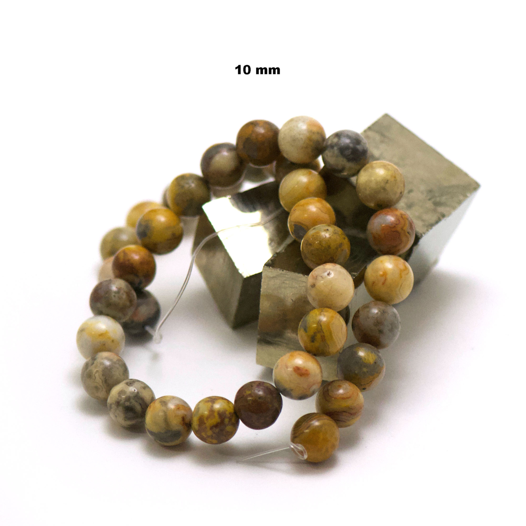 fil de 39 cm 39 perles d\'agate crazy lace ronde 10 mm