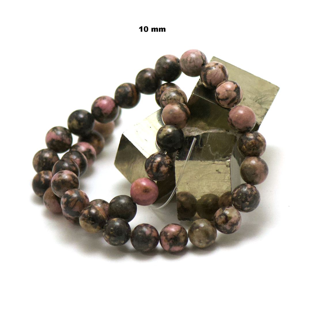 fil de 39 cm 49 perles de rhodonite de Madagascar ronde 10 mm
