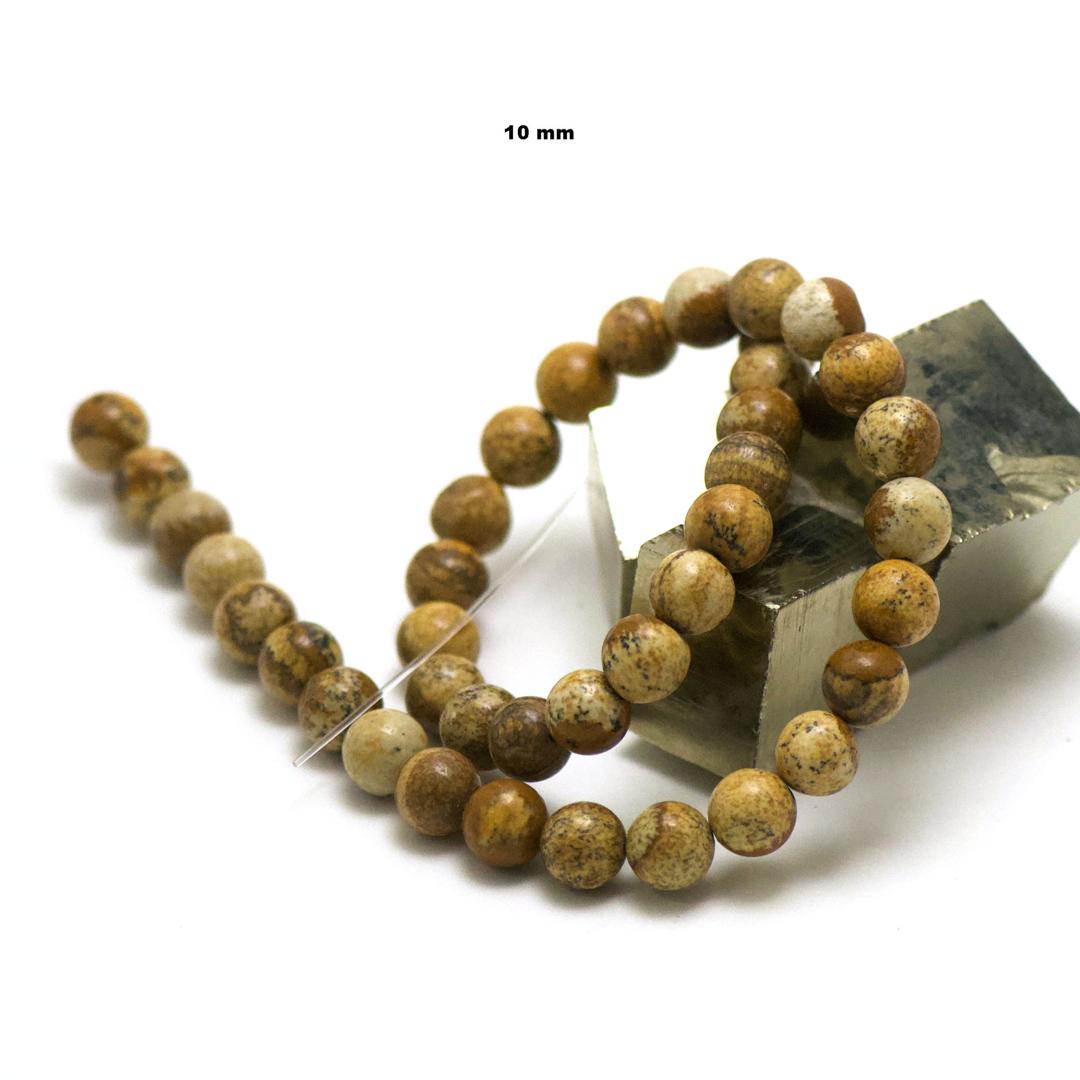 fil de 39 cm 39 perles de jaspe paysage ronde 10 mm