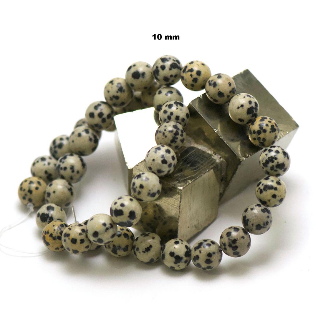 fil de 39 cm 39 perles de jaspe dalmatien ronde 10 mm