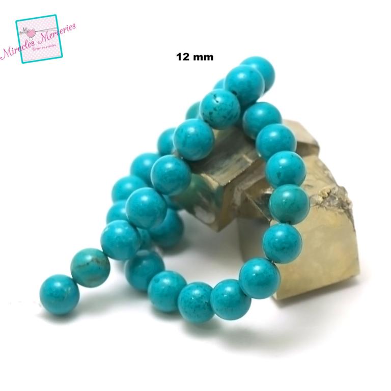 fil de 39 cm 32 perles de turquoise ronde 12 mm,pierre naturelle