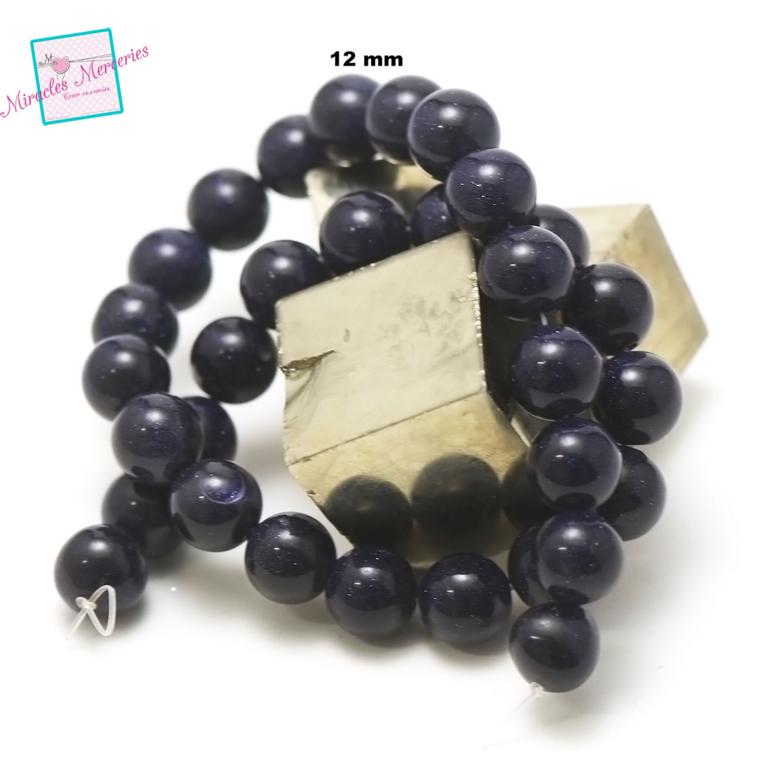fil de 36 cm 30 perles de goldstone/pierre de nuit ronde 12 mm,pierre naturelle