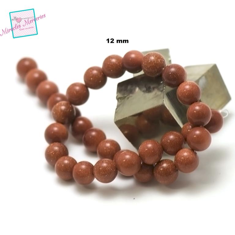 fil de 36 cm 30 perles de goldstone/pierre de soleil ronde 12 mm,pierre naturelle