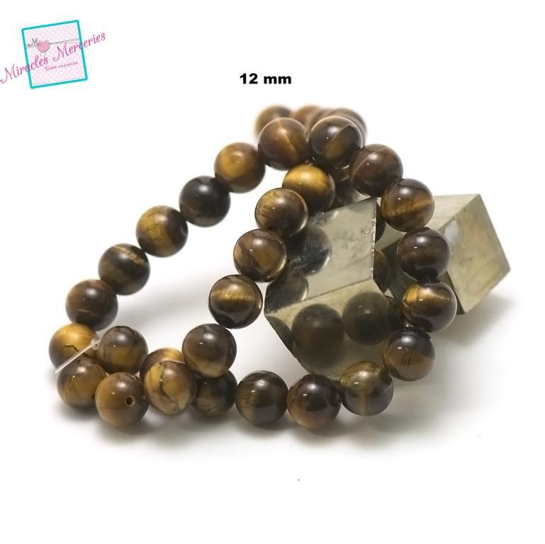 fil de 39 cm 32 perles de oeil de tigre ronde 12 mm,pierre naturelle