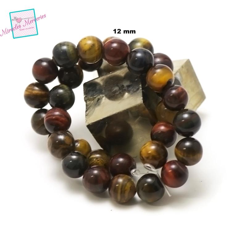 fil de 39 cm 32 perles de trois oeil mélangé ronde 12 mm,pierre naturelle