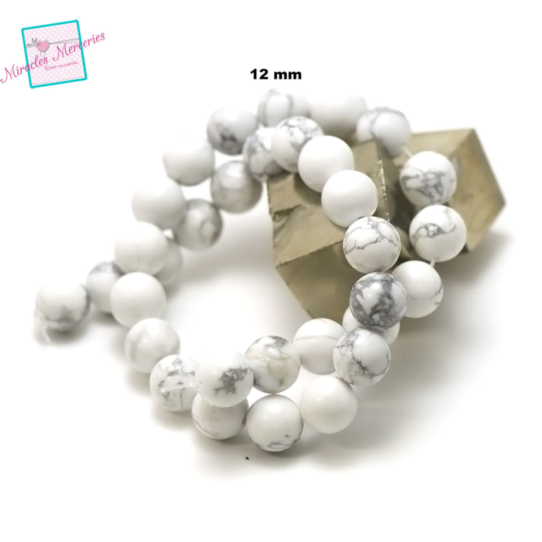 fil de 39 cm 32 perles de howlite ronde 12 mm, pierre naturelle