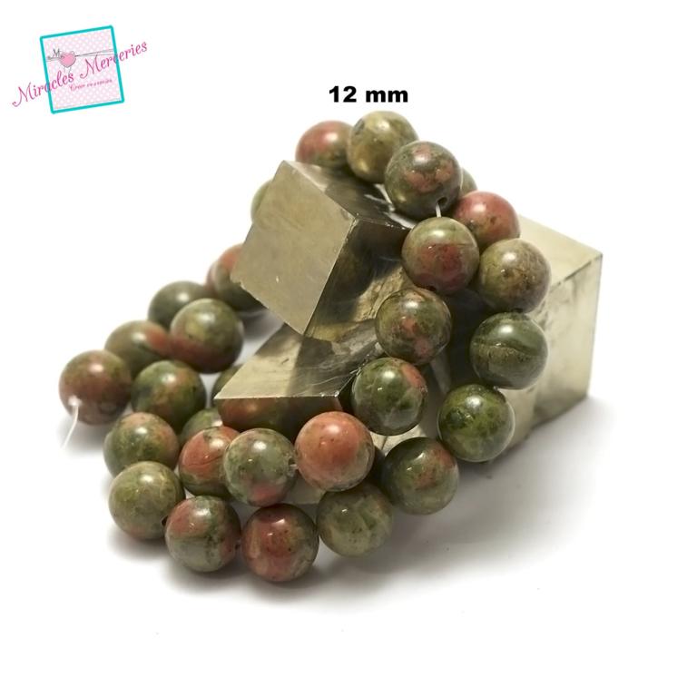 fil de 39 cm env 32 perles d\'unakite ronde 12 mm