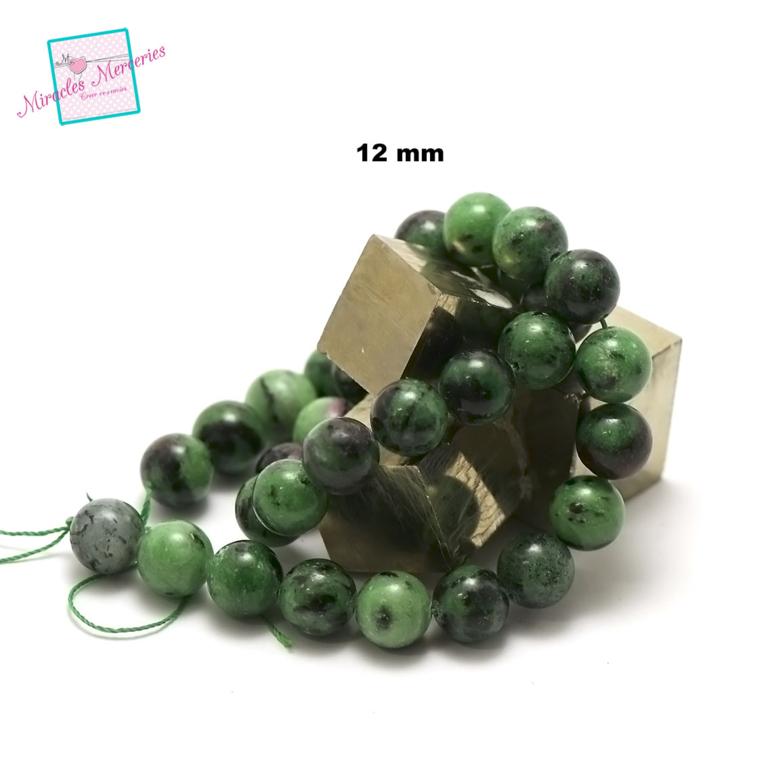 fil de 39 cm env 32 perles de zoïsite ronde 12 mm
