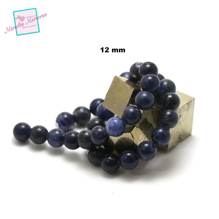 fil de 39 cm env 32 perles de sodalite ronde 12 mm