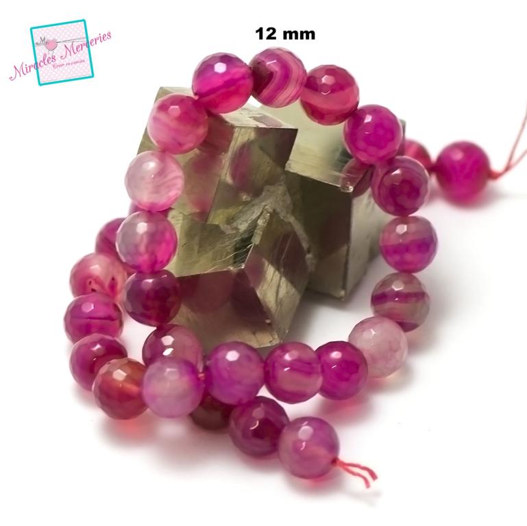 fil de 39 cm env 32 perles d\'agate fuchsia ronde facettée 12 mm