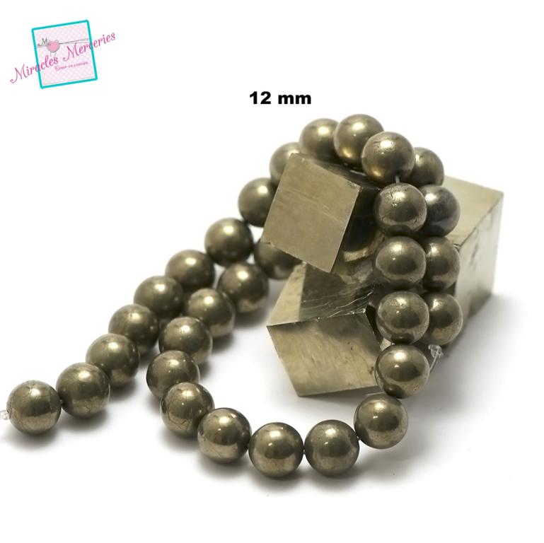 fil de 39 cm env 32 perles de pyrite ronde 12 mm